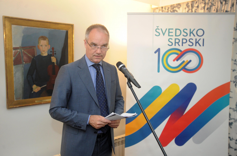 Beograd, 5. maja 2017. - Ambasador Svedske Jan Lundin govori na prezentaciji novog portala European Western Balkans - Serbia u ambasadi Svedske. FOTO TANJUG/ DIMITRIJE GOLL/ bk
