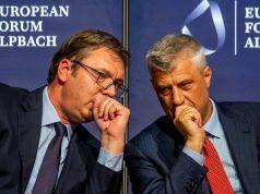 Aleksandar Vučić, Hašim Tači; Foto: European Forum Alpbach / Andrei Pungovschi / Flickr